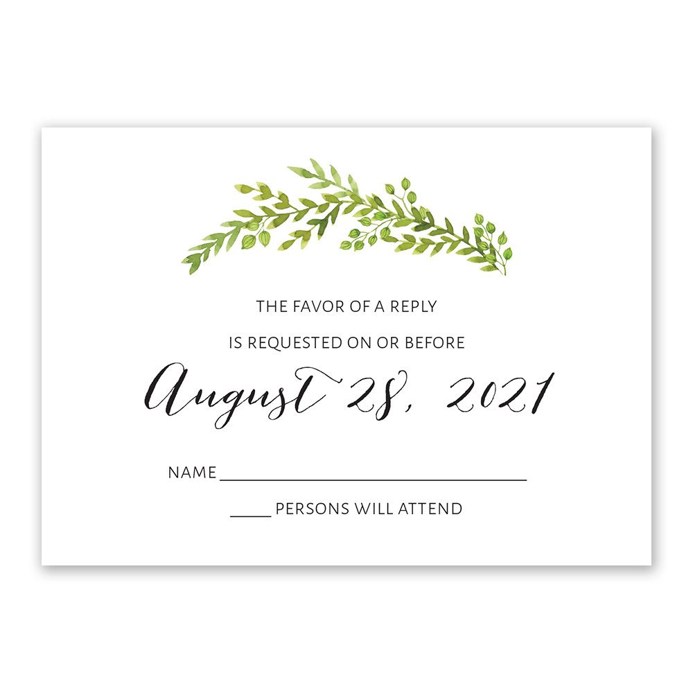 Watercolor greenery response card invitations by dawn watercolor greenery response card stopboris Choice Image