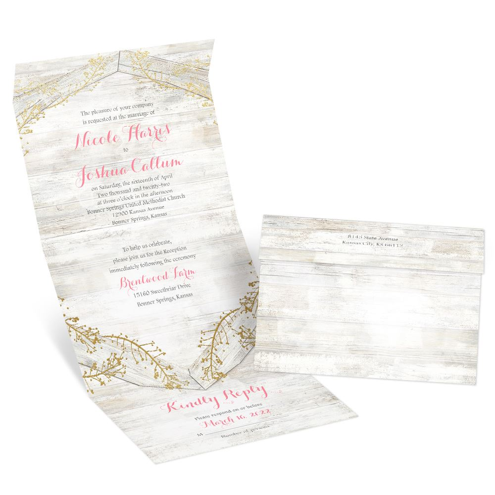 Weathered Glam Foil Seal and Send Invitation   Invitations By Dawn