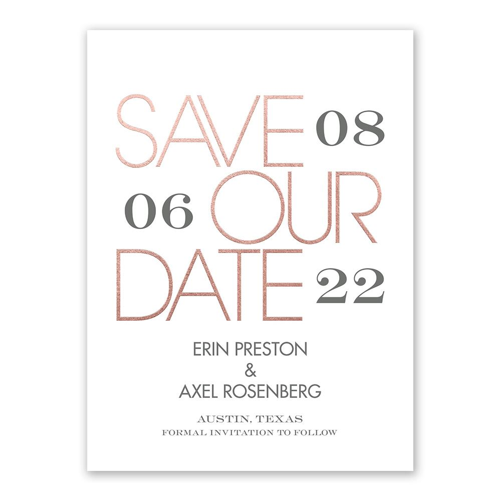 mixed message foil save the date card