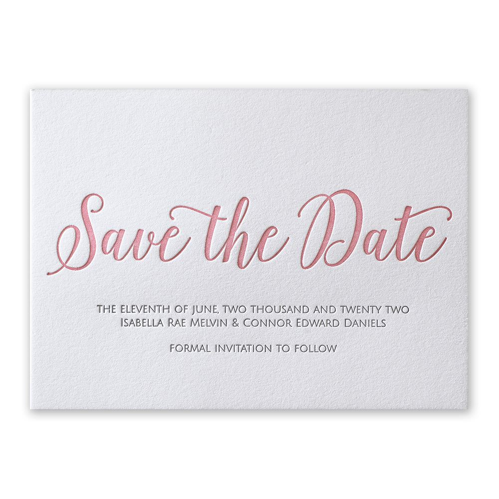 What Are Save The Date Cards: A Classic Date Letterpress Save The Date Card