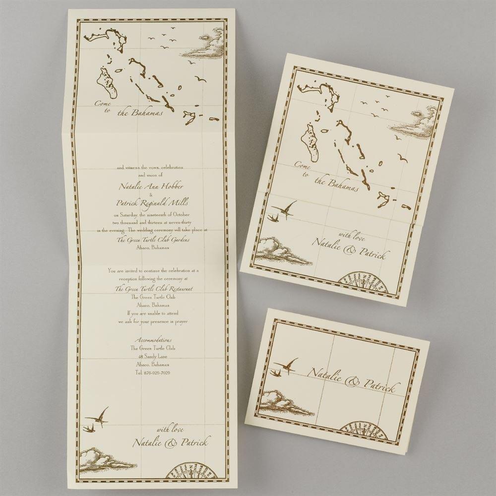 Bahamas Treasure Map Ecru ZFold Invitation Invitations By Dawn