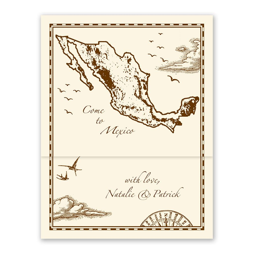 Mexico Treasure Map Ecru Zfold Inv | Invitations By Dawn