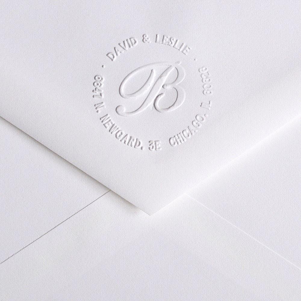 monogram custom embosser invitations by dawn