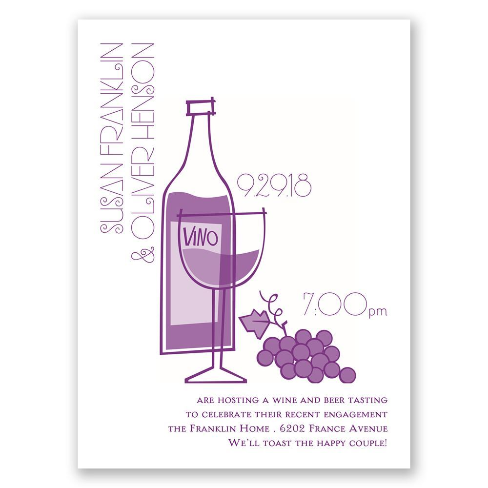 Wine and Dine Petite Engagement Party Invitation | Invitations By Dawn
