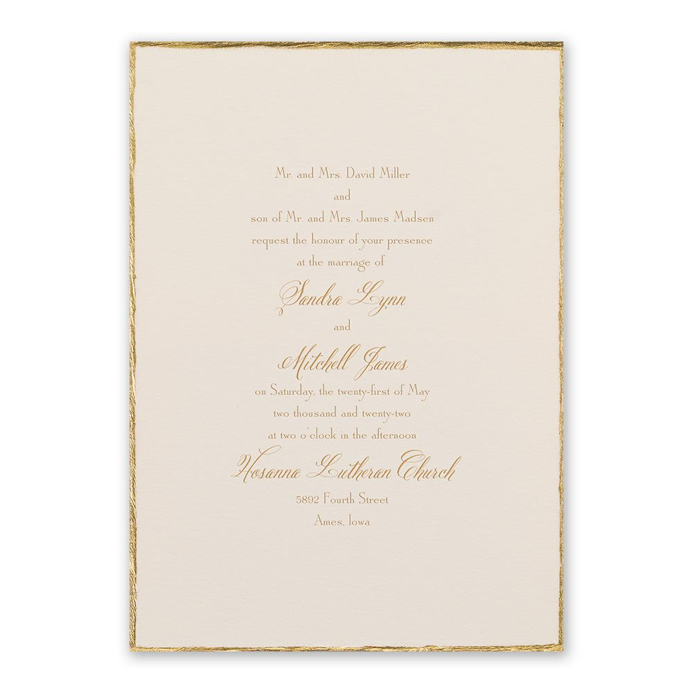 DWF12468 Gold Trim Invitation - Traditional Wedding Invitation Size