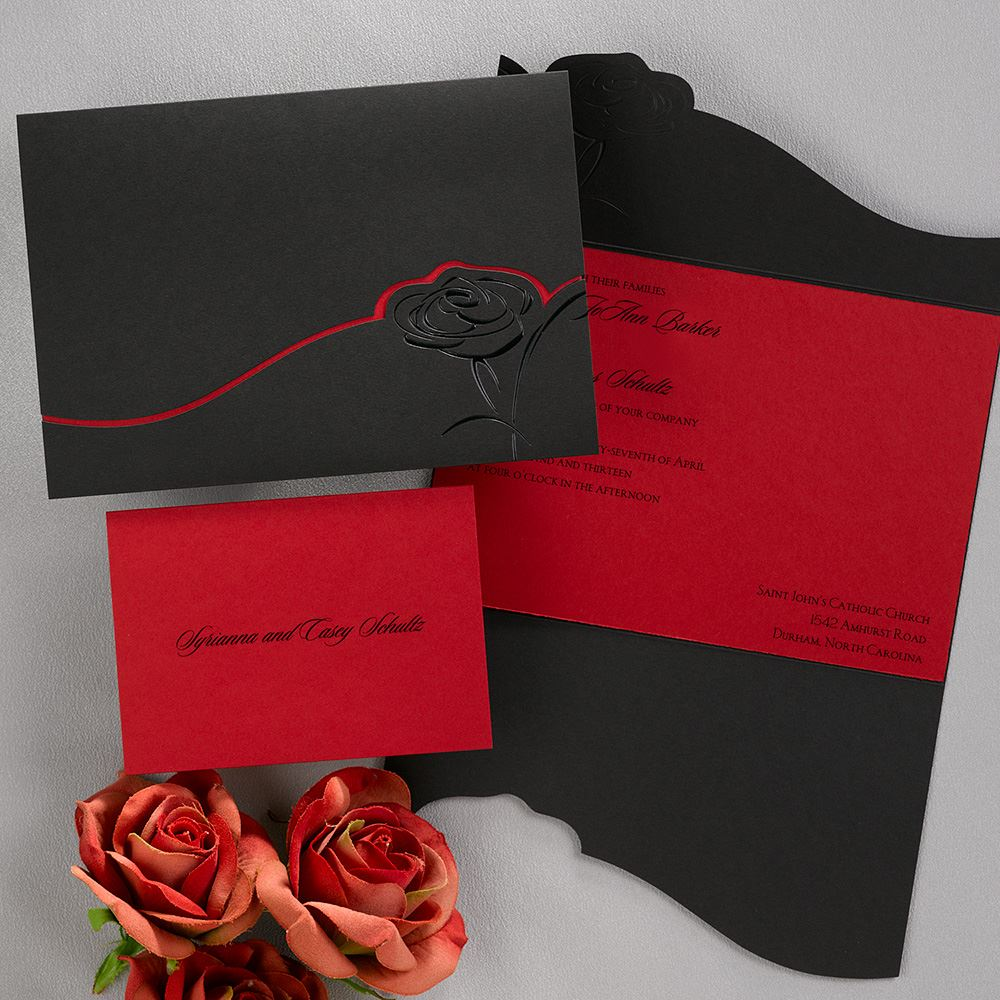 Dramatic Rose Black and Red invitation – Red Rose Wedding Invitation