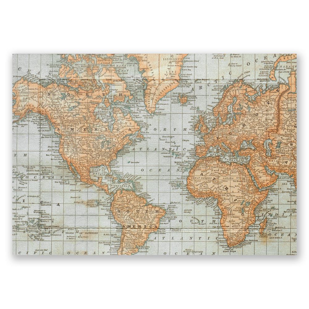 Wedding Invitations With Maps: Antique World Map Invitation