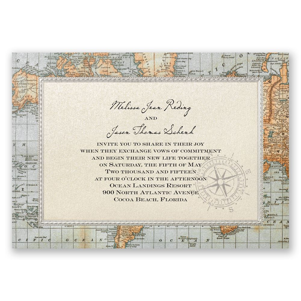 Antique World Map Invitation | Invitations By Dawn