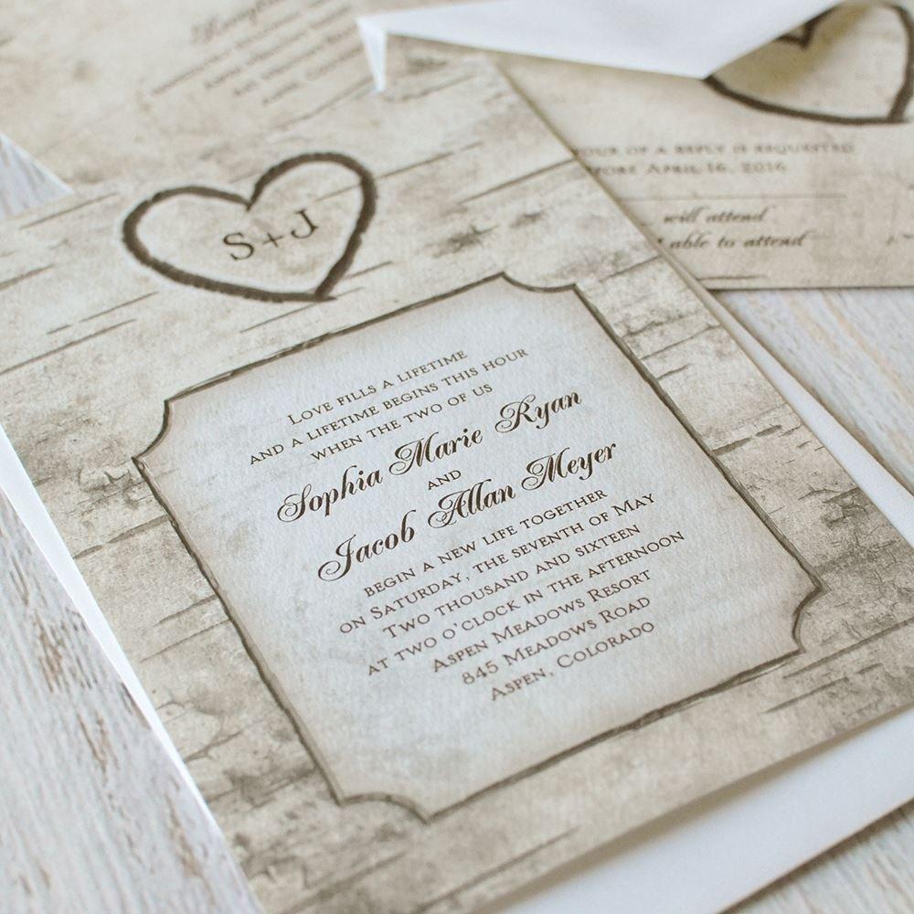 Birch Tree Carvings Invitation | Invitations By Dawn