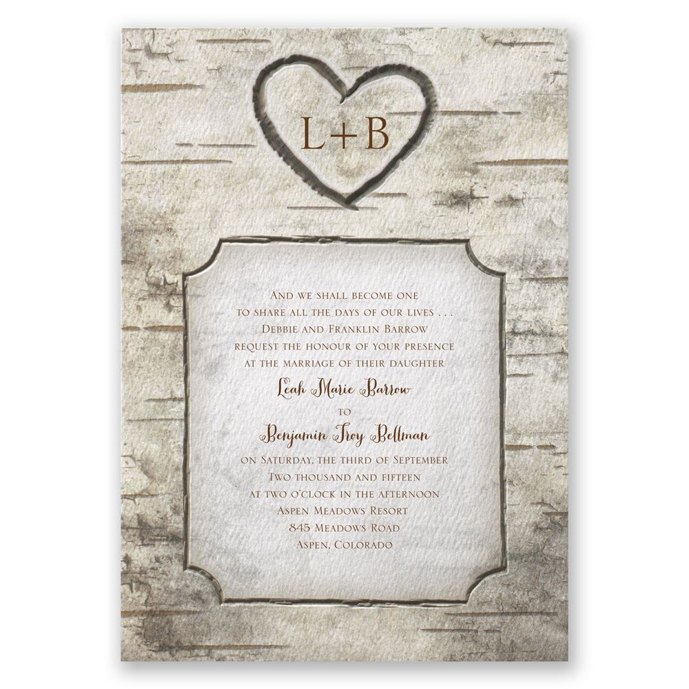 Showcase the beauty of birch trees on your wedding invitation. Invitations by Dawn offers Birch Tree Carvings and many other rustic wedding invitations.