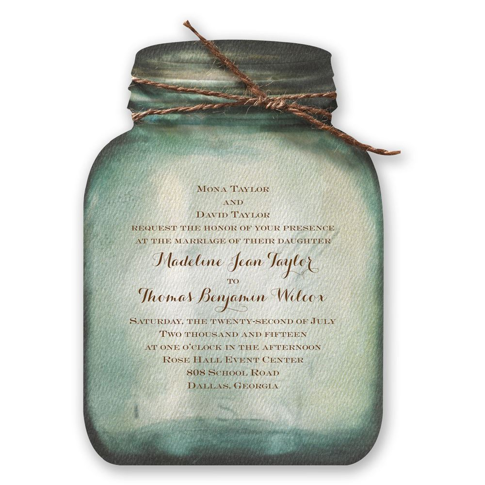 rustic wedding invitations country canning jar invitation - Country Rustic Wedding Invitations
