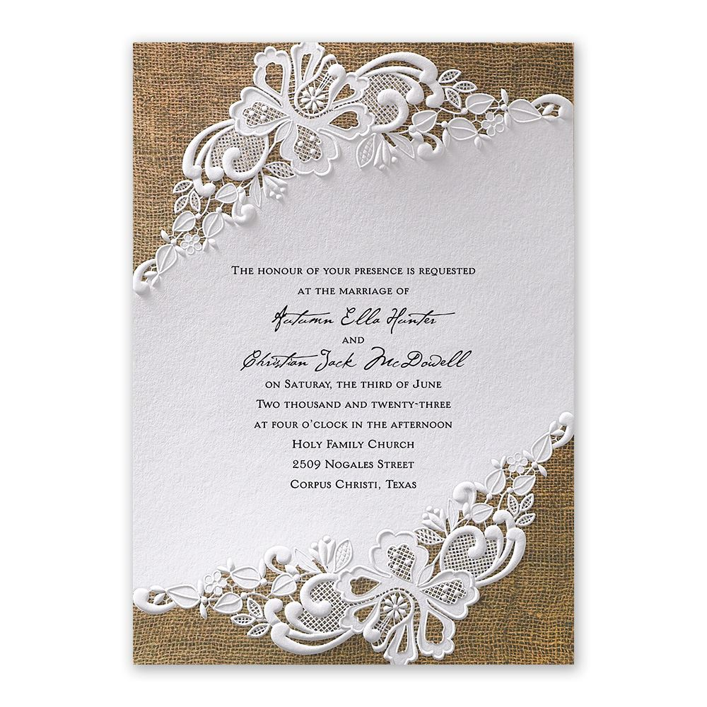 burlap wedding invitations lacy dream invitation - Burlap Wedding Invitations