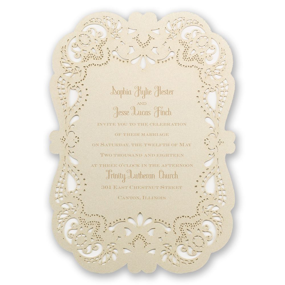 Opulent lace laser cut invitation invitations by dawn opulent lace laser cut invitation filmwisefo