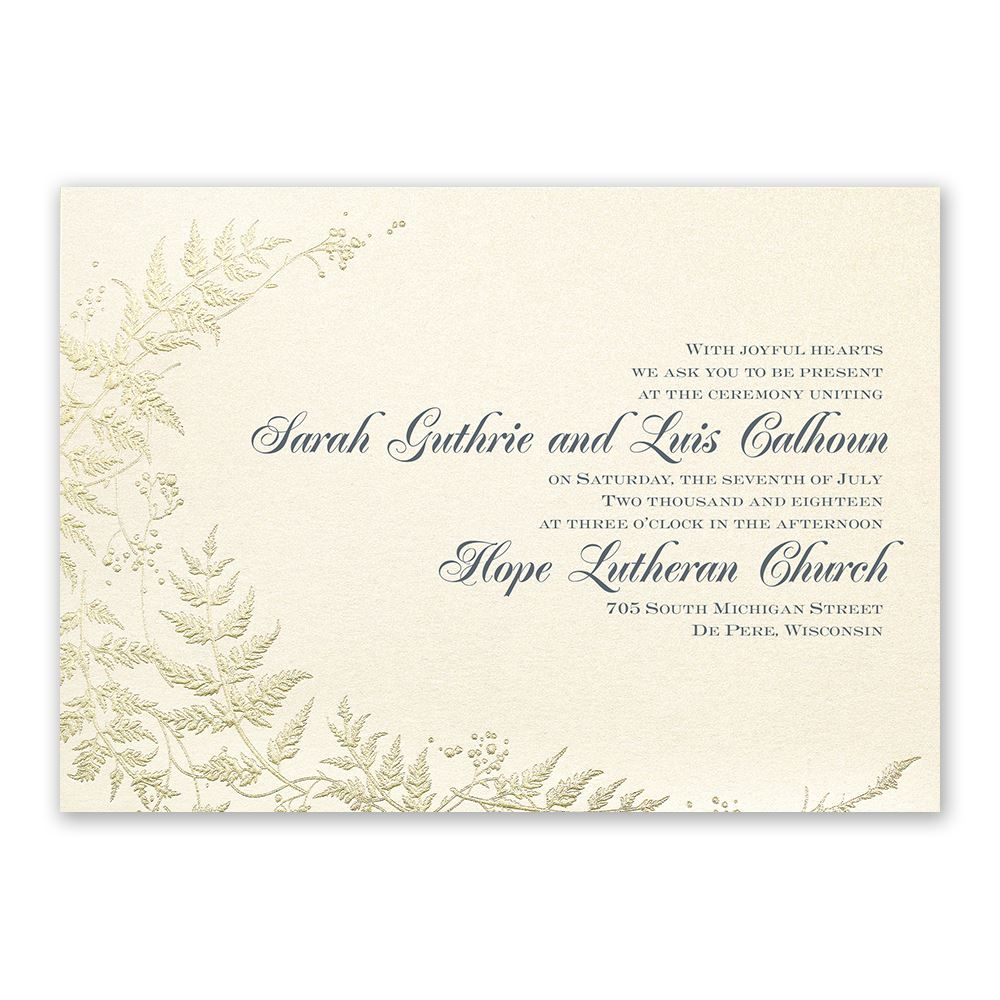 Ferns of Gold Invitation | Invitations By Dawn