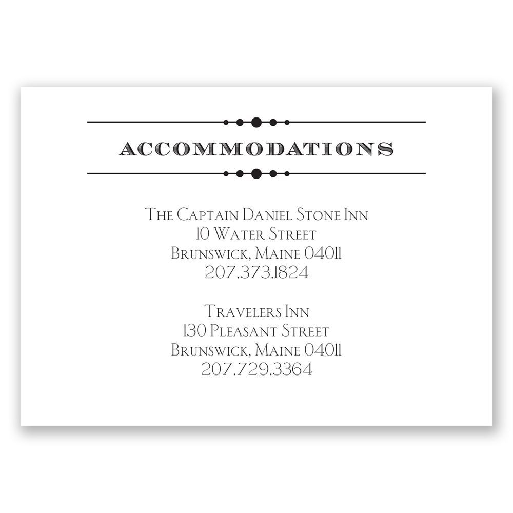 Vintage Type Accommodations Card | Invitations by Dawn