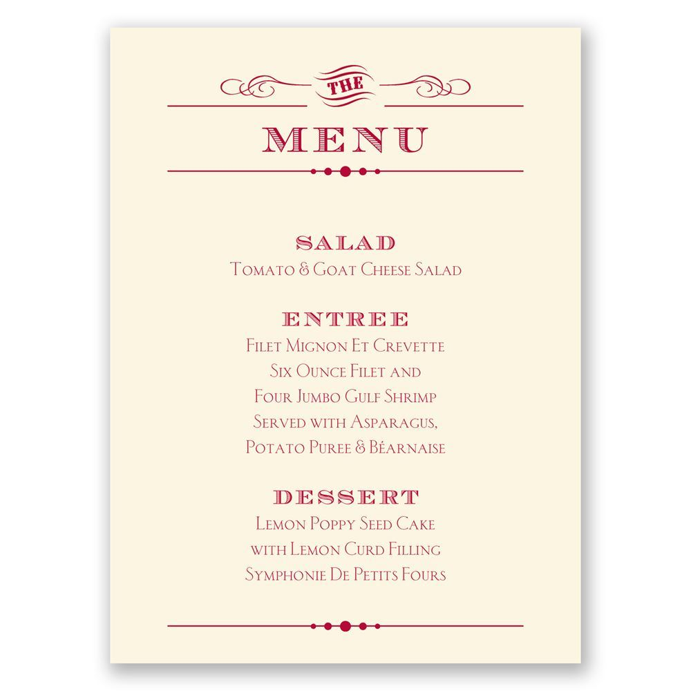 Vintage Type Menu Card | Invitations by Dawn