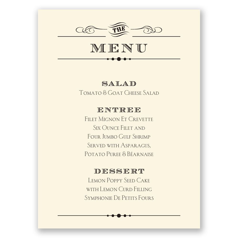 Vintage Type Menu Card Invitations By Dawn