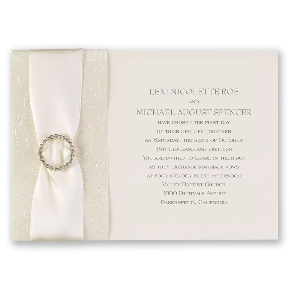 Shimmering Sash Invitation | Invitations By Dawn
