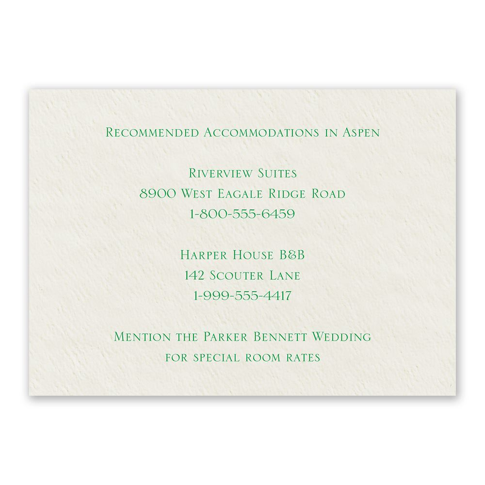 Ecru Acmodations Card Horizontal: Acmodation Cards For Wedding Invitations At Websimilar.org