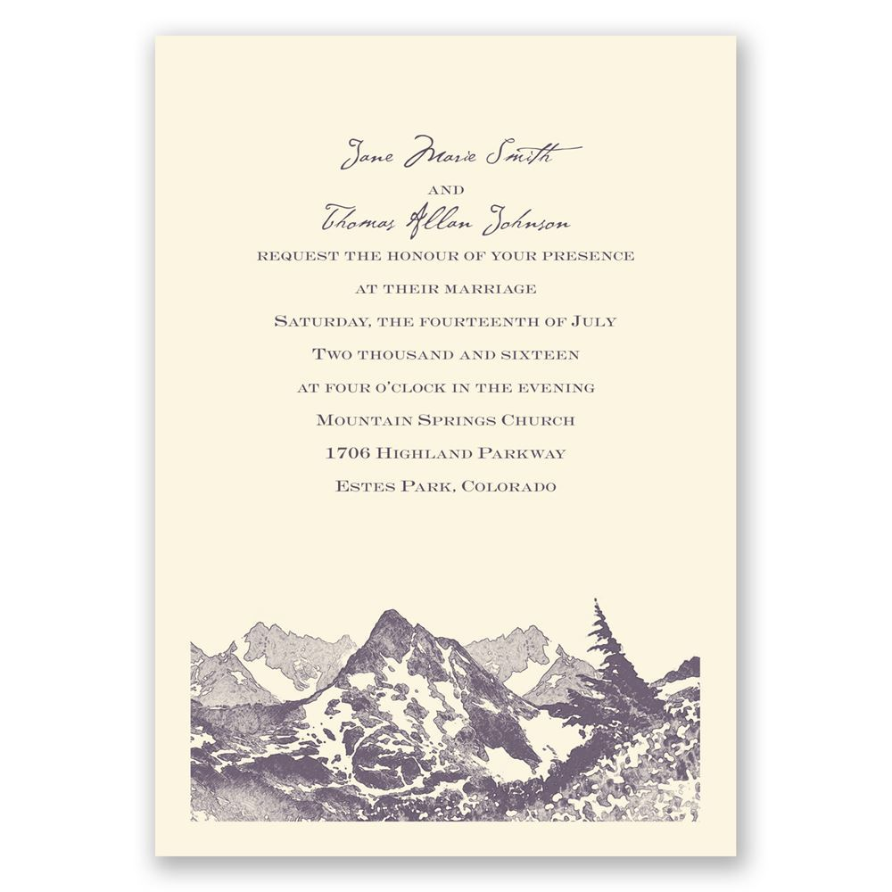 Watercolor mountain invitation invitations by dawn watercolor mountain ecru invitation stopboris Choice Image
