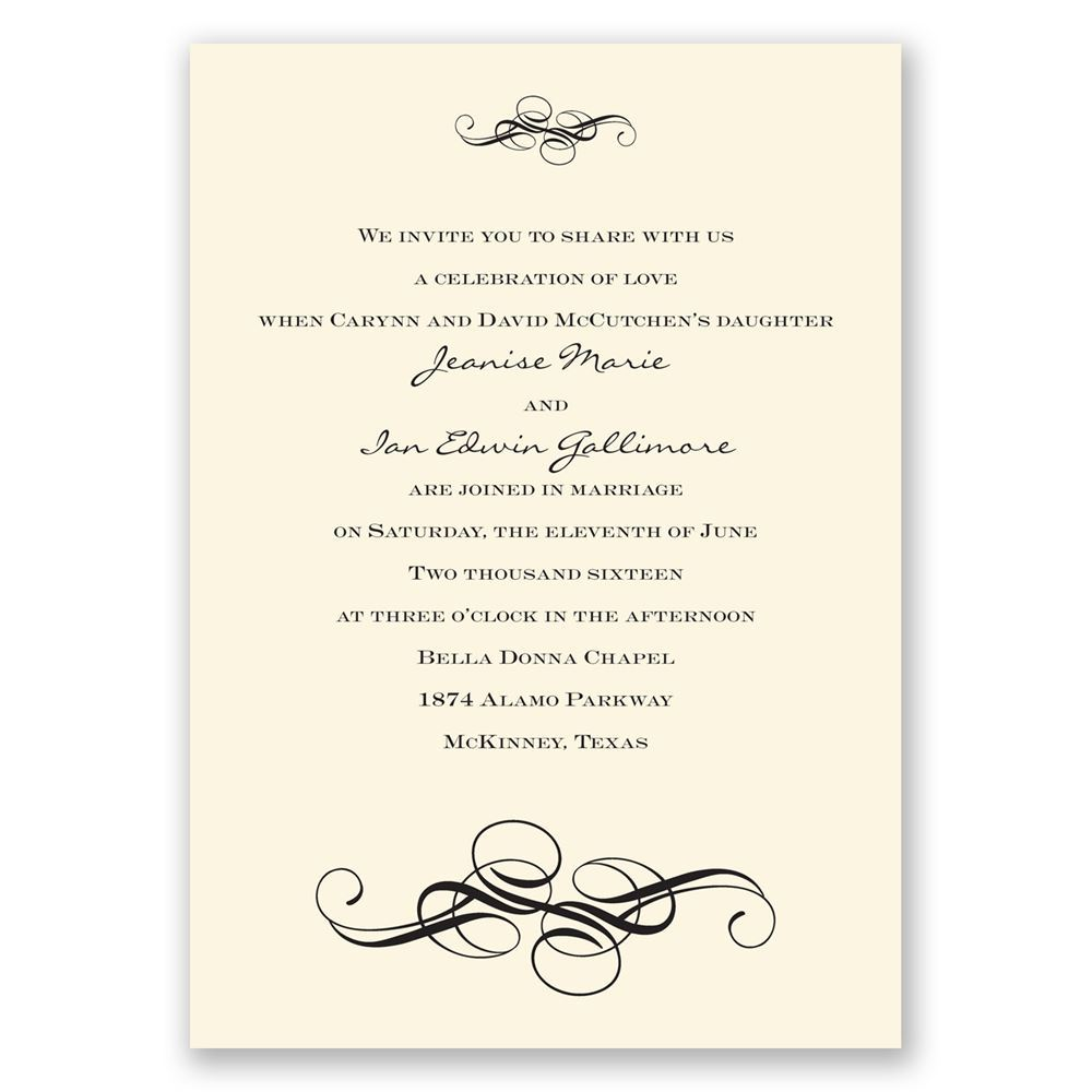 fancy flourishes ecru invitation