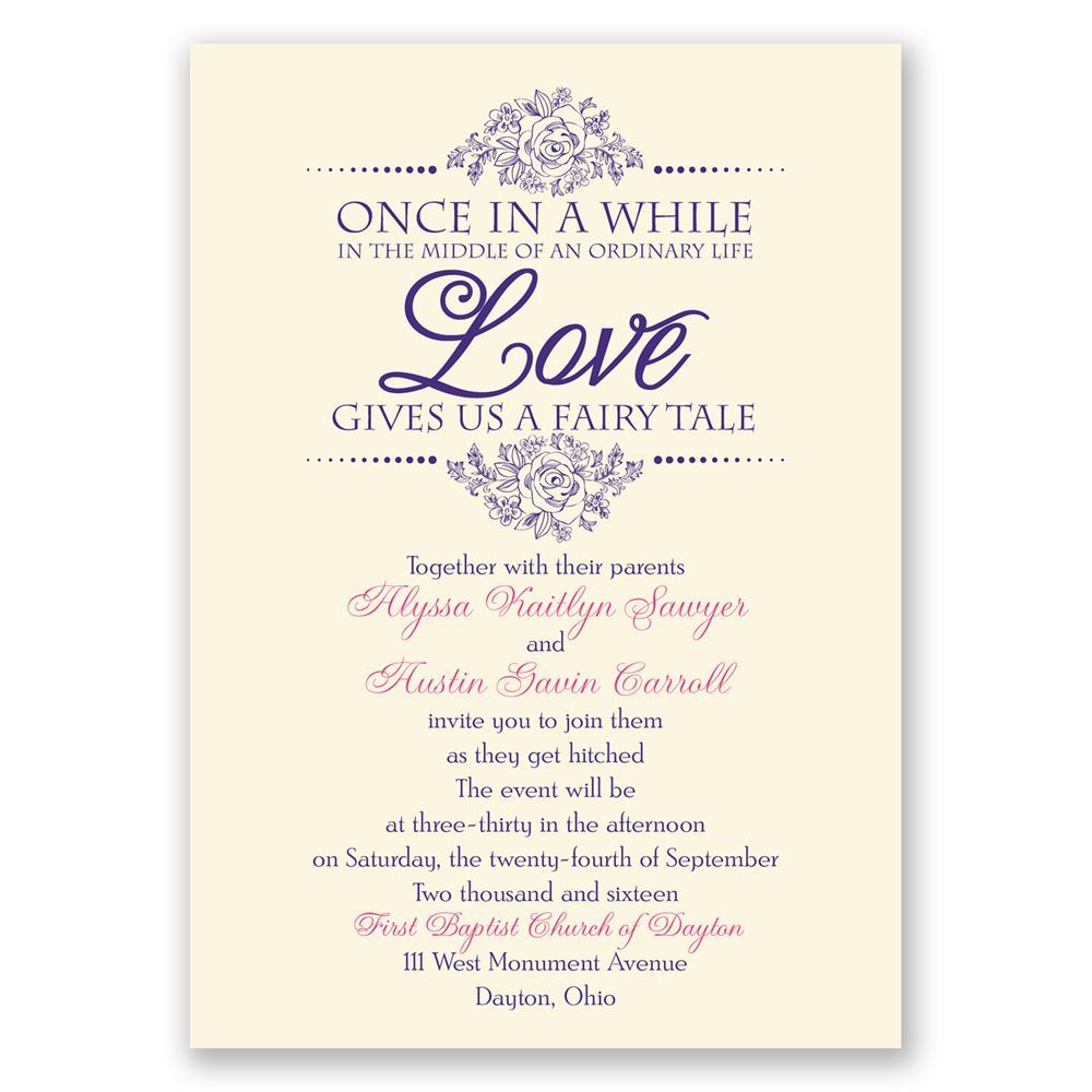 Words For Wedding Invites: Fairy Tale Love Invitation