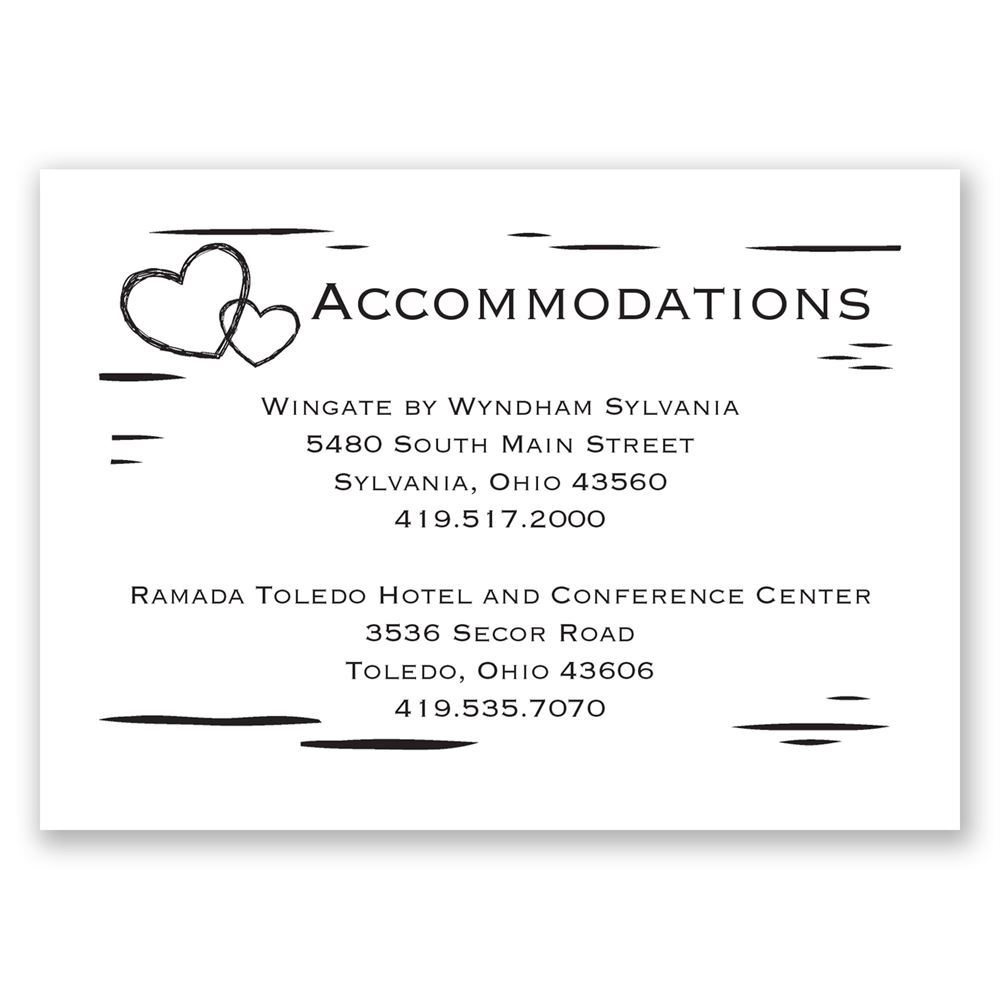 birch bark heart accommodations card