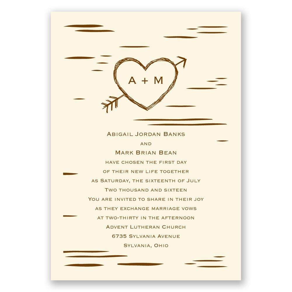 birch bark heart invitation invitations by dawn