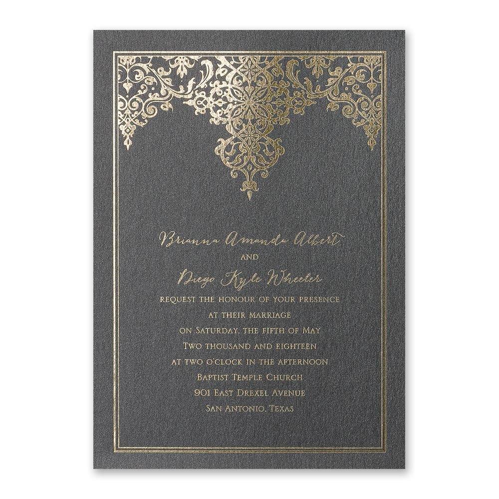 demure damask foil invitation