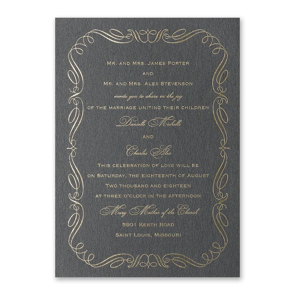 calligraphy border foil invitation invitations by dawn