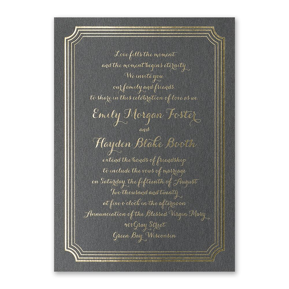 impressive borders foil invitation - Modern Wedding Invites