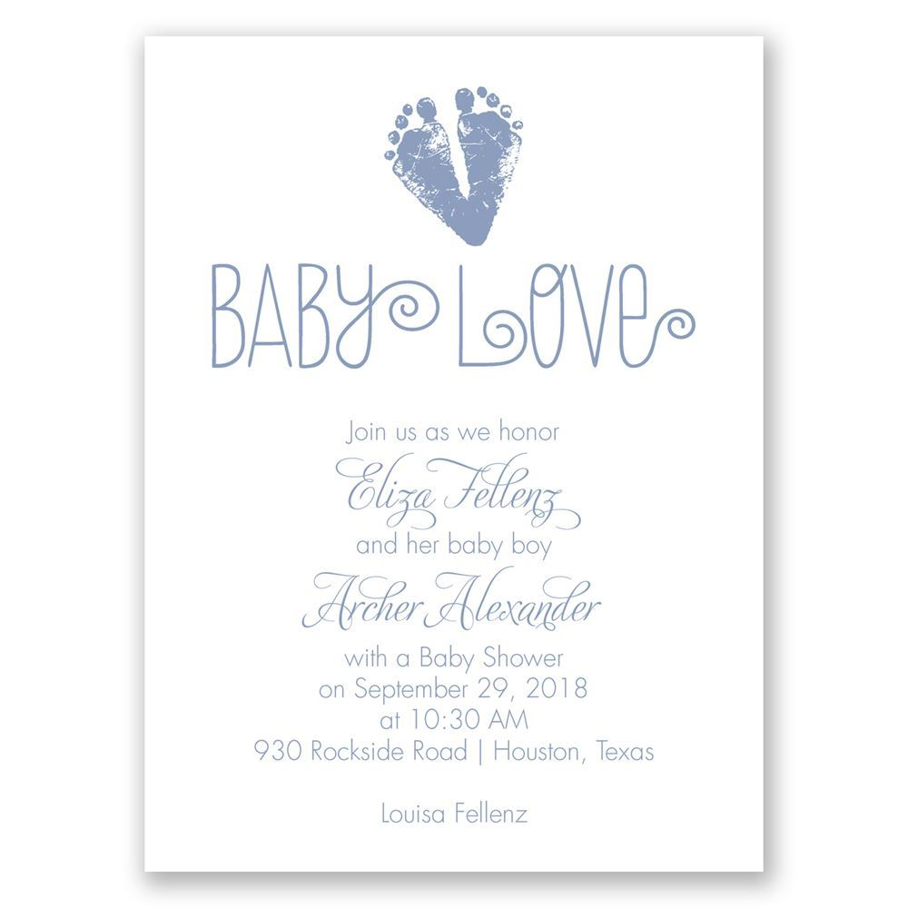 Footprint heart petite baby shower invitation invitations by dawn footprint heart petite baby shower invitation filmwisefo