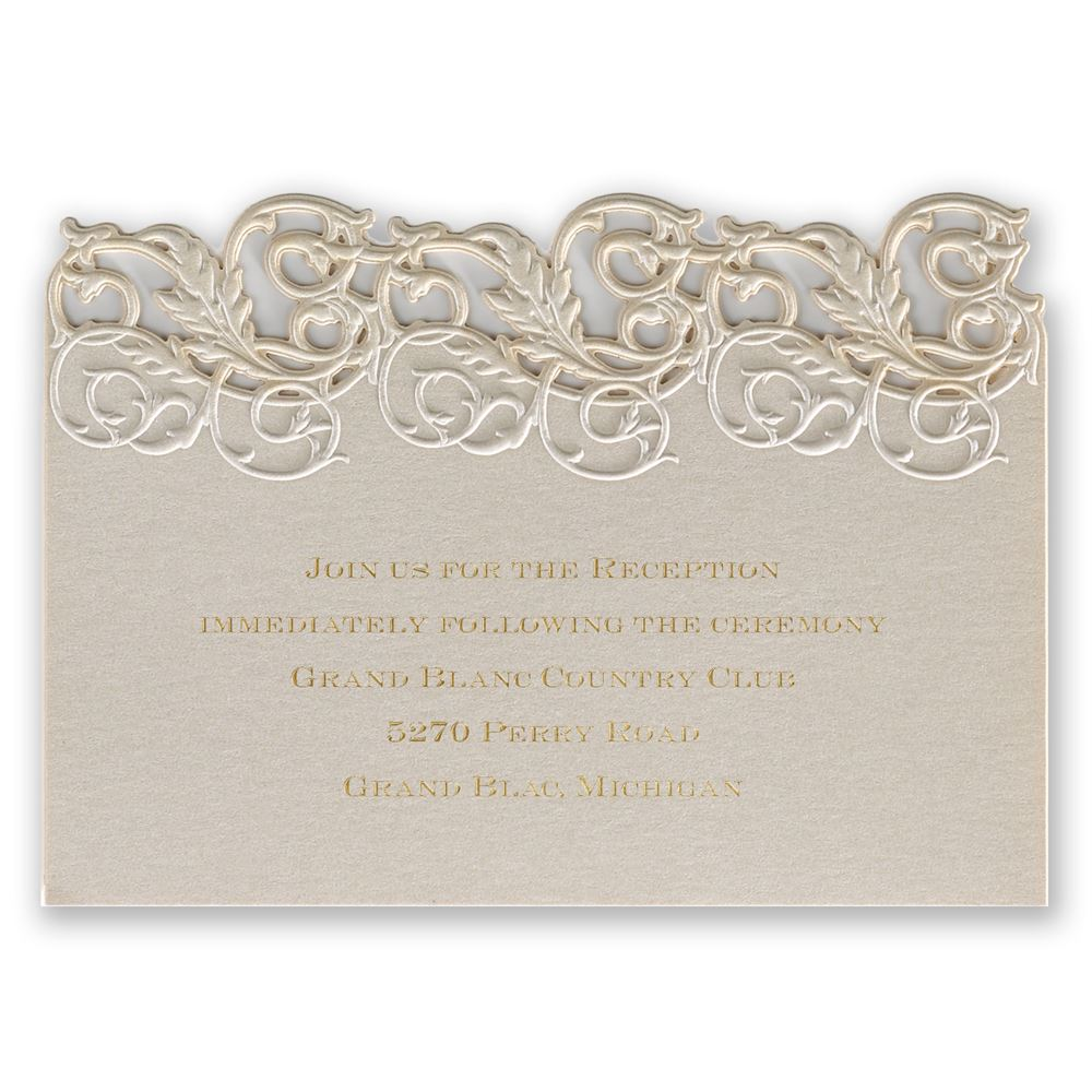 vintage escape laser cut reception card