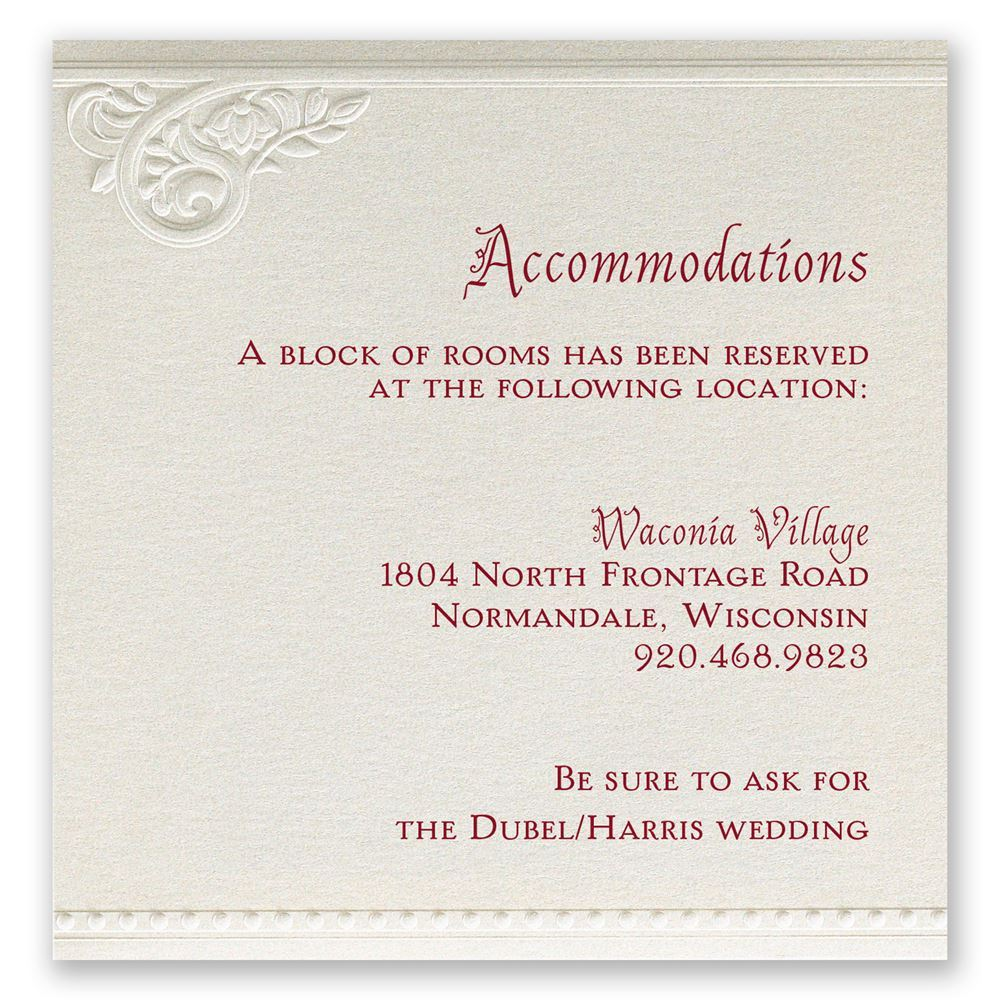 Pearls and Lace Accommodations Card | Invitations By Dawn