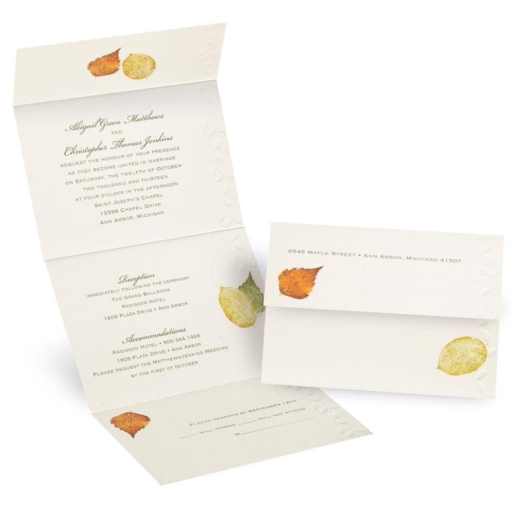 Cheap Send And Seal Wedding Invitations: Touch Of Autumn Seal And Send Invitation