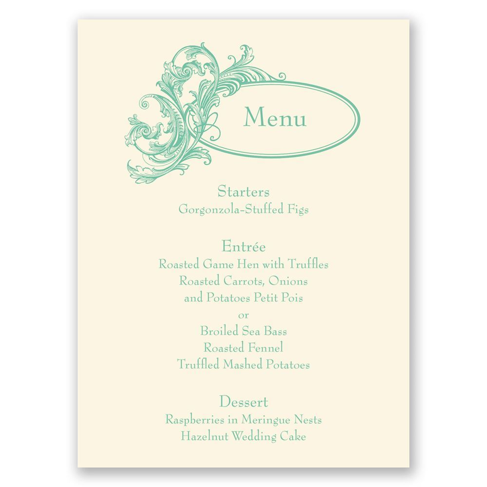 Posh Flourish Menu Card | Invitations by Dawn