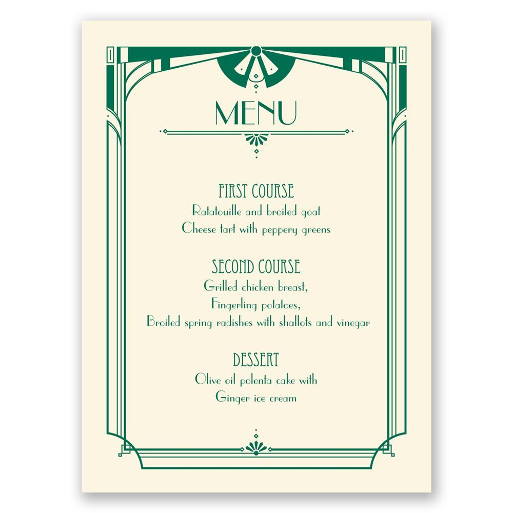 Art Deco Arch Menu Card | Invitations by Dawn