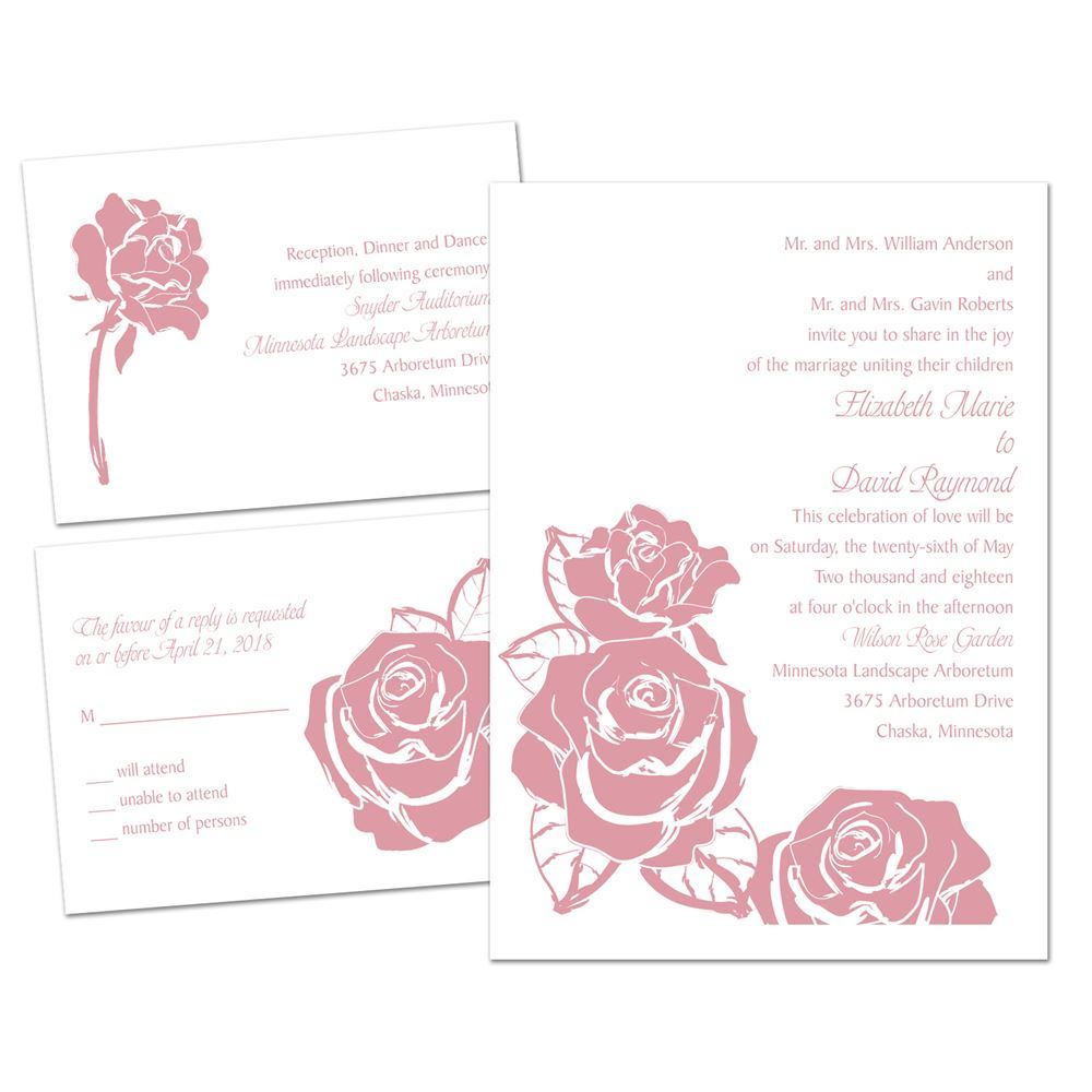 Lavish Rose 3 for 1 Invitation | Invitations by Dawn