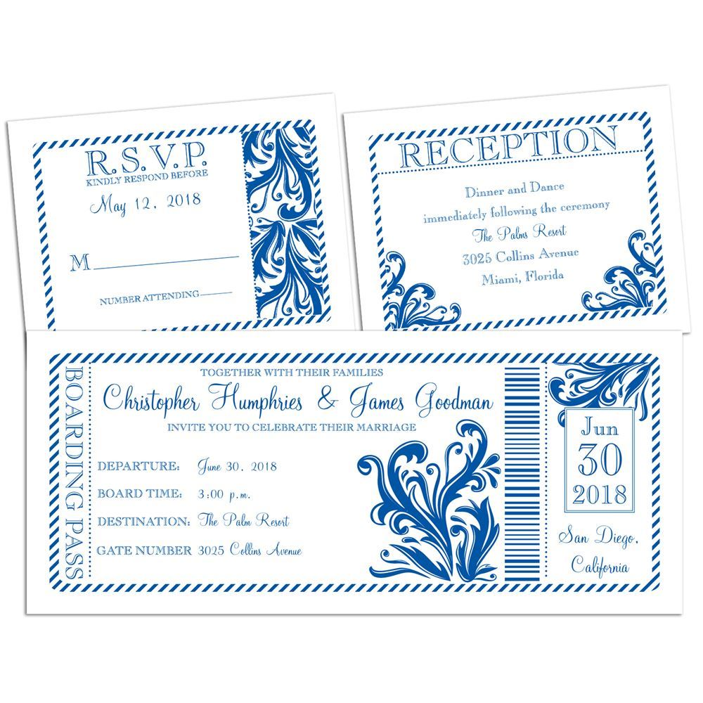 Wedding And Reception Invitations: Destination Love 3 For 1 Invitation