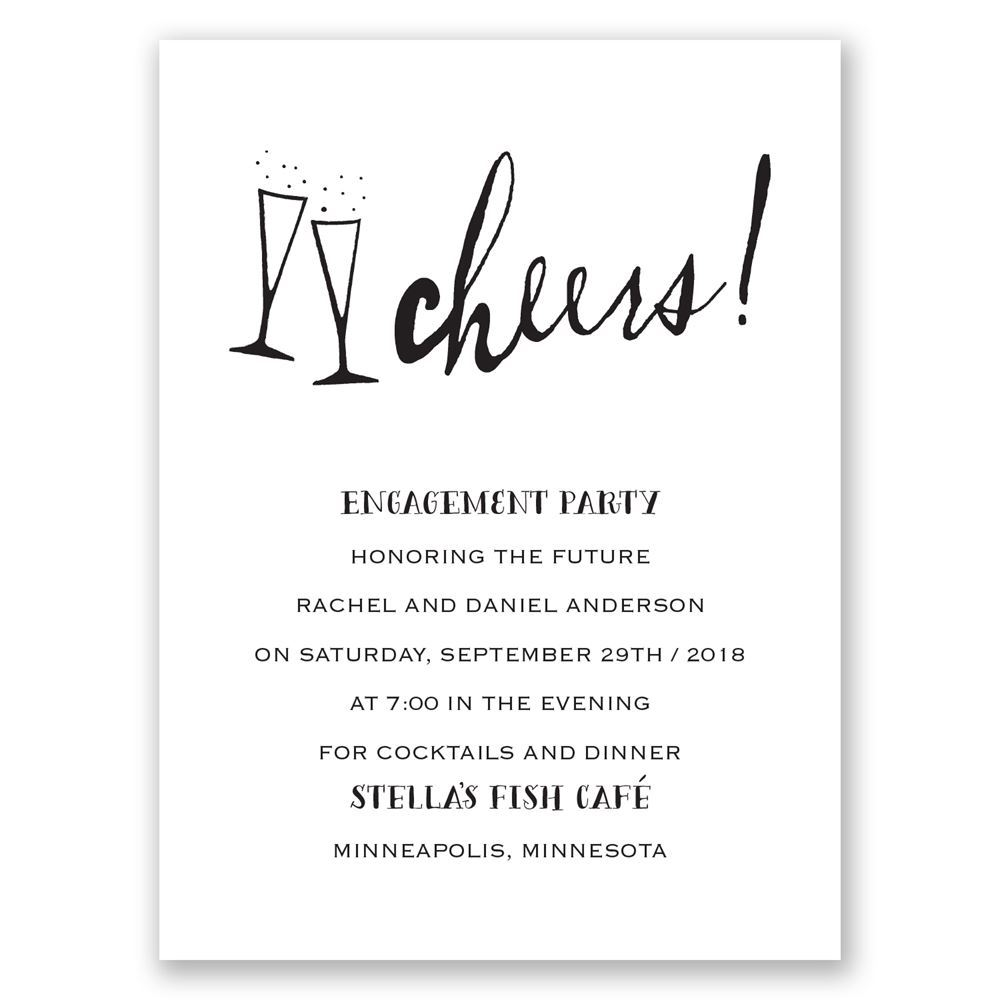 Wedding Engagement Party Invitations: Cheers! Petite Engagement Party Invitation