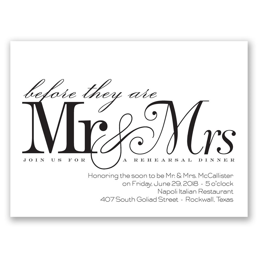 Before Mr. & Mrs. Petite Rehearsal Dinner Invitation | Invitations ...