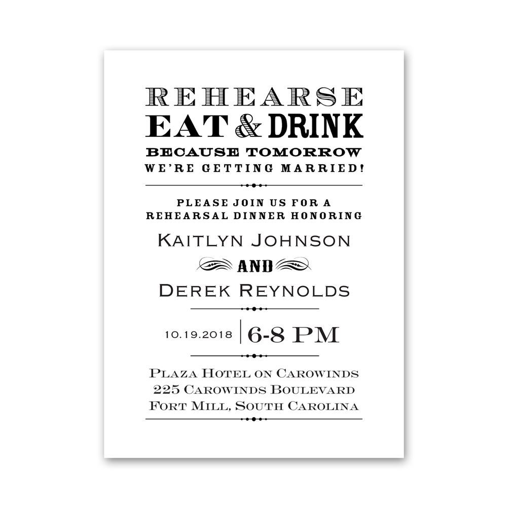 Rehearse Eat and Drink Petite Rehearsal Dinner Invitation