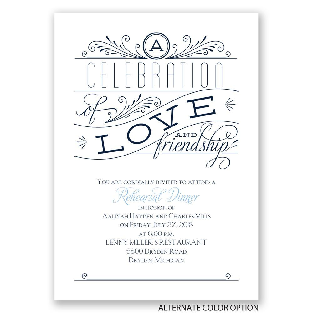 Love and Friendship Rehearsal Dinner Invitation Invitations By Dawn