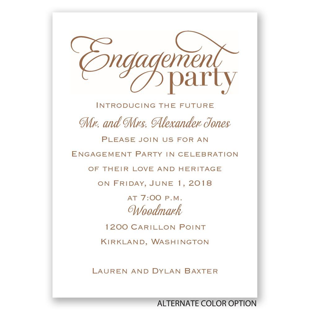 Classic style mini engagement party invitation for Invitation for engagement party
