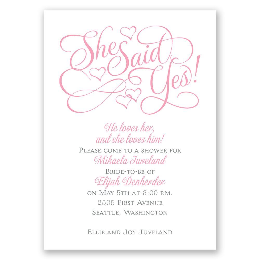 Floating Hearts Mini Bridal Shower Invitation
