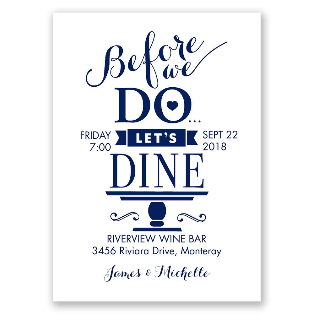 let s dine mini rehearsal dinner invitation invitations by dawn