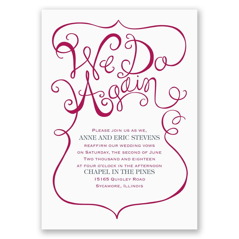 We Do Again Vow Renewal Invitation – Renewal of Vows Invitation Cards