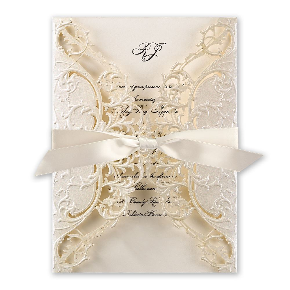 elegant wedding invitations royal details laser cut invitation - Fancy Wedding Invitations