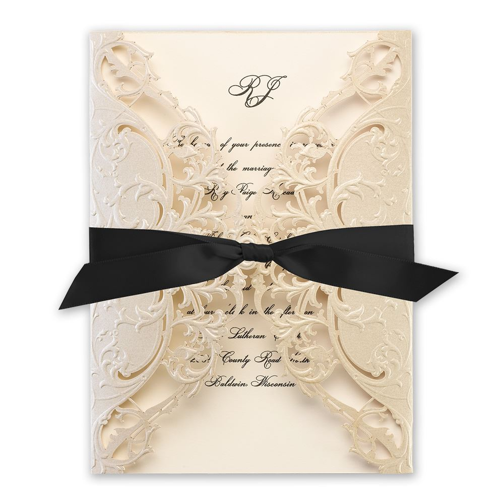 Royal Details Champagne Laser Cut Invitation Invitations