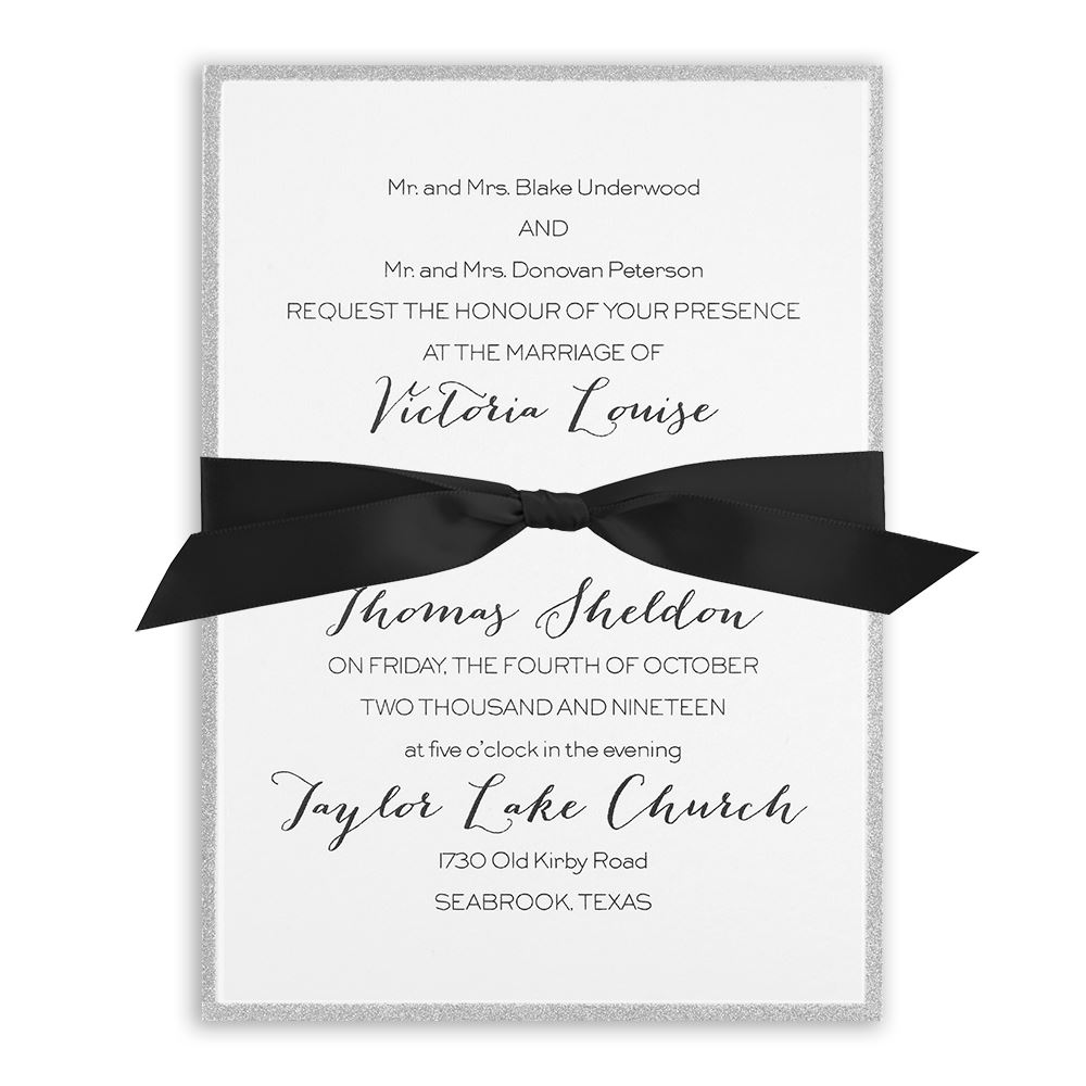 silver sparkle vertical invitation invitations by dawn